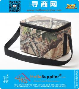 Camouflage cooler bag for men and kids outdoor camo waterproof 6 cans volume heat food container with straps