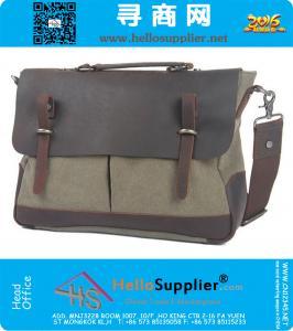 Casual Canvas rundleer Shoulder Messenger Bag Vintage Briefcase Mannen Vrouwen