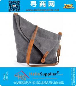 Mode féminine Messenger Bag sac à bandoulière en cuir vintage de toile militaire de toile pour les femmes sac bandoulière Sling de sac casual