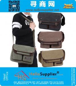 Herren Messenger Bag! 2015 neue Markenweinlese-Segeltuch-Schultasche Schule Military Laptop-Umhängetasche